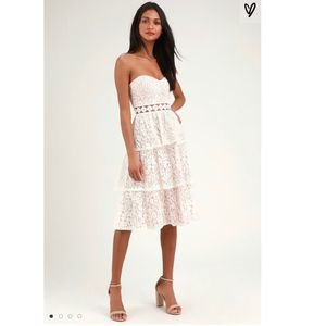 Lulus Adorn White Lace Strapless Midi Dress